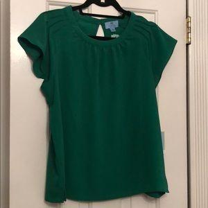 NWT CeCe Green Flutter Sleeve Blouse Size Medium